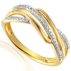 9ct Gold Diamond Wave Crossover Ring E63721/10-9Y