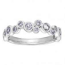 18ct White Gold 0.58ct Diamond Bubble Half Eternity Ring 52D89WG/18