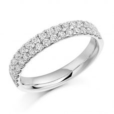 18ct White Gold 0.75ct Claw Set Round Brilliant Double Row Half Eternity Ring HET1017 18W