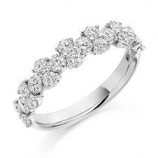 18ct White Gold 1.20ct Claw Set Round Brilliant Fancy Half Eternity Ring HET1911 18W M