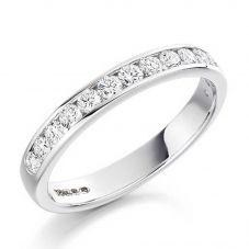 18ct White Gold 0.50ct Channel Set Round Brilliant Half Eternity Ring HET1310 18W N