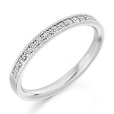 Platinum 0.25ct Claw Set Round Brilliant Milgraine Half Eternity Ring HET1770