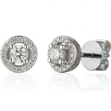 18ct White Gold Diamond Round Halo Stud Earrings EAR42040/42/WG