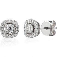 18ct White Gold Diamond Cushion Halo Stud Earrings EAR47313/42/WG