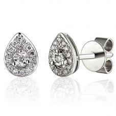 18ct White Gold Diamond Pear Halo Cluster Stud Earrings EAR62192/9