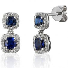 18ct White Gold Sapphire and Diamond Square Halo Dropper Earrings EAR43418/20-SA