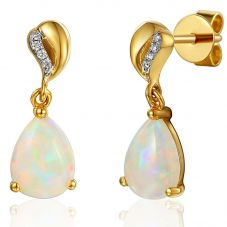 18ct Gold Pear Opal and Diamond Dropper Earrings EAR60960/5-OP
