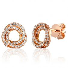 18ct Rose Gold Diamond Open Knot Stud Earrings EAR45686/20
