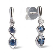 18ct White Gold Eternal Sapphire and Diamond Infinity Dropper Earrings LG196/EA-PR(BS)