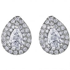 18ct White Gold 0.67ct Pear-cut Diamond Halo Cluster Stud Earrings E3787W/67-18