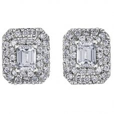 18ct White Gold 0.75ct Emerald-cut Diamond Halo Cluster Stud Earrings E3780W/75-18