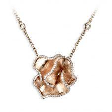 18ct Rose Gold 0.62ct Diamond Ruffle Necklace LGN168