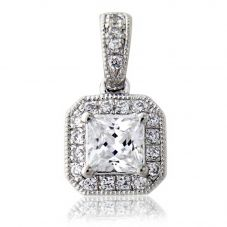 18ct White Gold Princess Cut 0.37ct Diamond Pendant VSPD3-3.7