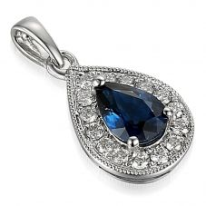 18ct White Gold Pear Sapphire and Diamond Vintage Cluster Pendant PEN63332/13-SA