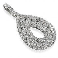 18ct White Gold Diamond Open Pear Pendant PEN44565/52