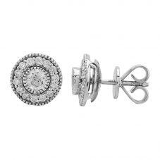 Mastercut Vintage 18ct White Gold 0.60ct Diamond Cluster Stud Enhancer Earrings C6ER001 060W M15464