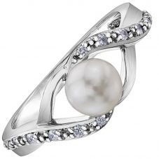 9ct White Gold Freshwater Pearl and Diamond Twist Ring 52D04WG-10