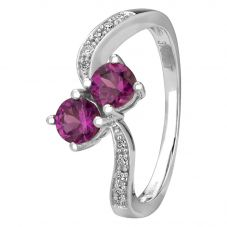 9ct White Gold Purple Rhodolite And Diamond Ring OJR0110F-PR