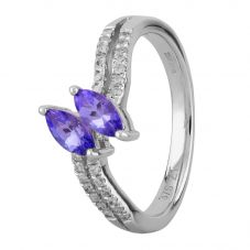 9ct White Gold Twin Marquise-cut Tanzanite and Diamond Shoulders Ring OJR0122C-T2A