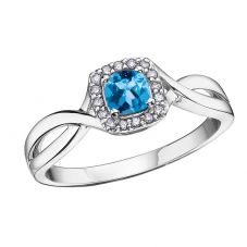 9ct White Gold Blue Topaz and Diamond Square Cluster Ring 51Y64WG/12-9