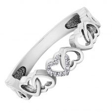 9ct White Gold Diamond Entwined Open Hearts Ring CH594WG/03-10