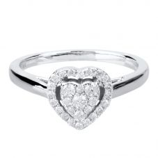 9ct White Gold 0.25ct Diamond Heart Cluster Ring THR10927-25