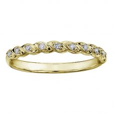9ct Yellow Gold 0.08ct Diamond Rope Half Eternity Ring CH565YG-10