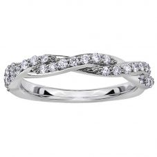 9ct White Gold 0.33ct Diamond Twist Half Eternity Ring 50J53WG/33-10