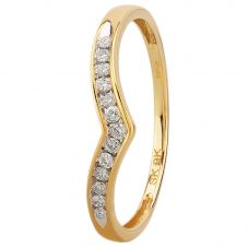 9ct Yellow Gold 0.12ct Diamond Wishbone Half Eternity Ring SKR14730