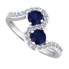 18ct White Gold Sapphire and Diamond Wave Ring 9748/18W/DQ7S-0.20CT M