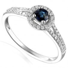 18ct White Gold Sapphire and Diamond Shouldered Halo Ring EC1001-M/SA/WG