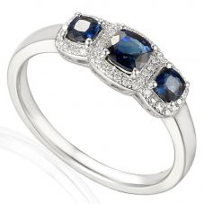 18ct White Gold Sapphire and Diamond Trilogy Cluster Ring EC1031/SA/WG