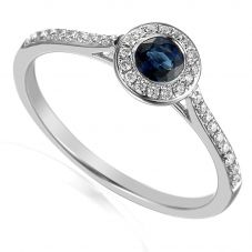 18ct White Gold Sapphire and Diamond Shouldered Cluster Ring EC1002-M/SA/WG