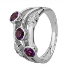 9ct White Gold Amethyst and Diamond Dress Ring 9490/9W/DQ10AM