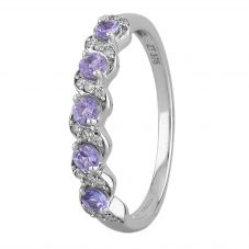9ct White Gold Tanzanite And Diamond Twist Half Eternity Ring OJR0216-T2A