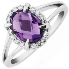 9ct White Gold Oval Claw Set Amethyst and Diamond Cluster Ring DAR1448W
