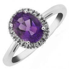 9ct White Gold Oval Amethyst and Diamond Cluster Ring DAR828W