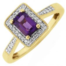 9ct Baguette-Cut Amethyst and Round Diamond Cluster Ring DAR1412