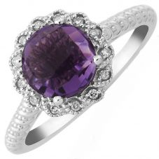 9ct White Gold Brilliant-Cut Amethyst and Diamond Cluster Ring DAR1444W