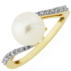 9ct Cultured Pearl and Diamond Twist Ring DPR11