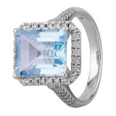 9ct White Gold Baguette Cut Blue Topaz and Round  Diamond Cluster Shouldered Ring R4099-119BT