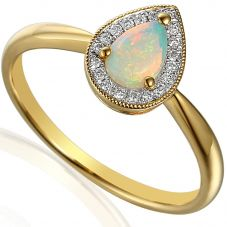 9ct Gold Pear Opal and Diamond Vintage Cluster Ring E50991/6