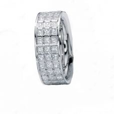 Henrich and Denzel Lily- Platinum Three Row Princess Cut Diamond 2.04ct Half Eternity Ring P4883.01/144 53