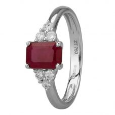 18ct White Gold Emerald-cut Ruby and Diamond Dress Ring BSR0048-R-18KW