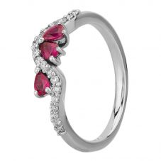 18ct White Gold Ruby and Diamond Wave Ring 9725/18W/DQ7R-0.14CT L