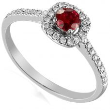 18ct White Gold Ruby and Diamond Shouldered Halo Ring EC1004-M/RU/WG M