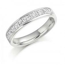 18ct White Gold 0.50ct Diamond Princess Cut Half Eternity Ring HET993 18W M