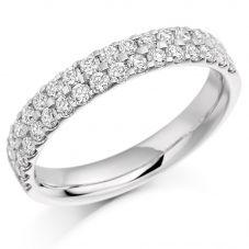 Platinum 0.75ct Diamond Two Row Half Eternity Ring HET 1017PlaT