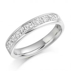 Platinum 1.00ct Channel Set Princess Cut Half Eternity Ring HET931 PLAT M