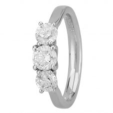 1888 Collection Platinum Certificated Diamond Trilogy Ring R3-145(1.25CT PLUS)- G-H/SI1-SI2/1.29ct